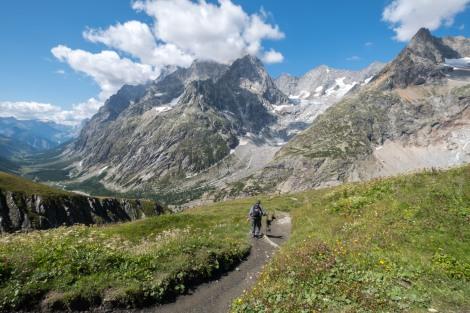 Descending into the Italian Val Ferret from Grand Col Ferret