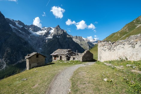 Old farm buildings along the Italian Val Ferret, TMB