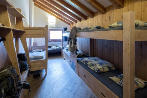 Our bunk room at Rifugio Bonatti - 5 women and my dad!