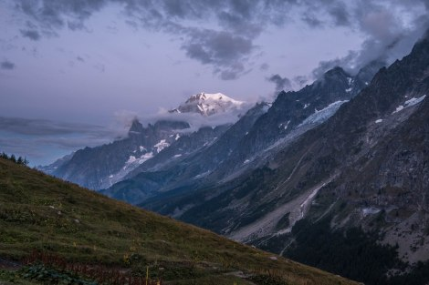 Early morning at Rifugio Bonatti and our first view of the snow-covered Mont Blanc