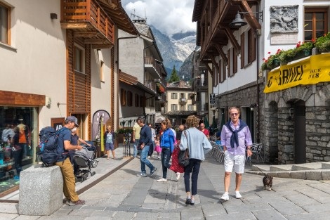 Entering Courmayeur, a popular Italian alpine town