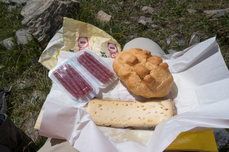 Lunch of Italian cheese and salami that I bought in Courmayeur yesterday