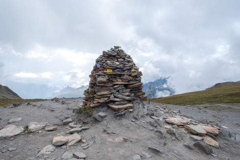 A welcome cairn on the top of Col de la Seigne, 2516m high