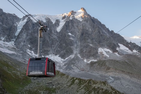 Catching the cable car up to Aiguille du Midi for a birds-eye view of Mont Blanc