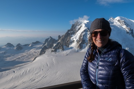 Selfie in front of Mont Blanc at the Aiguille du Midi cable car station, 3842m