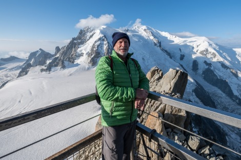 Dad in front of Mont Blanc at the Aiguille du Midi cable car station, 3842m