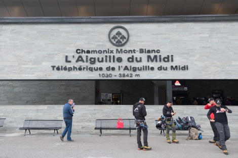 The Aiguille du Midi cable car station in Chamonix