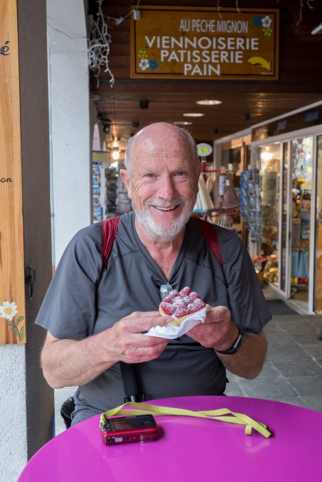 Look at that smile and that raspberry tart, in Argentiere.