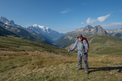 Dad at Col de Balme (2191m) saying goodbye to our views of Mont Blanc before descending into the Swiss valley