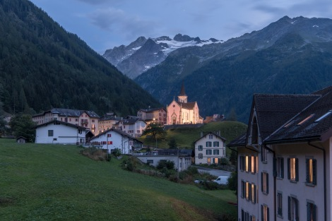 A night-time view of Trient from Auberge du Mont Blanc