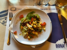 First course of salad at Rifugio Bonatti in Italy, 2025m high