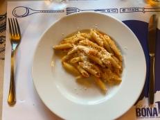 Pasta for dinner at Rifugio Bonatti in Italy, 2025m high