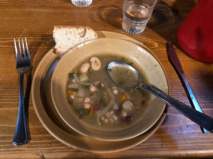 Soup for starters at Refuge des Mottets