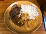 Beef stew with potato and rice at Refuge des Mottets