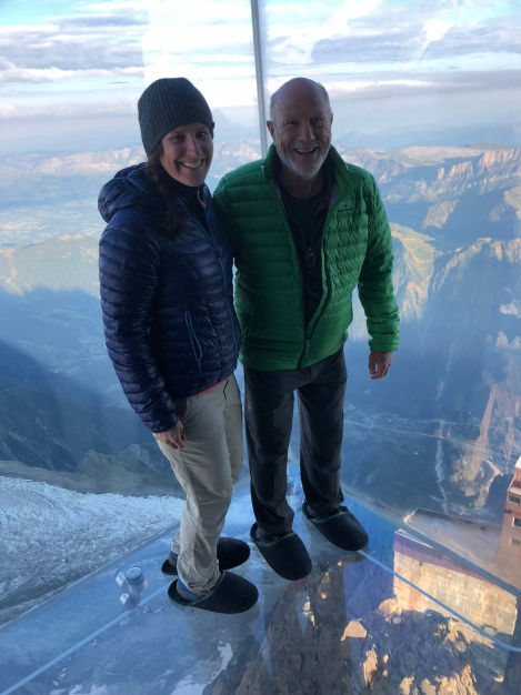 Dad and I at the 'step into the void' experience at the Aiguille du Midi cable car station