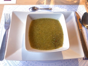 Vegetable soup for starters at Auberge du Mont Blanc