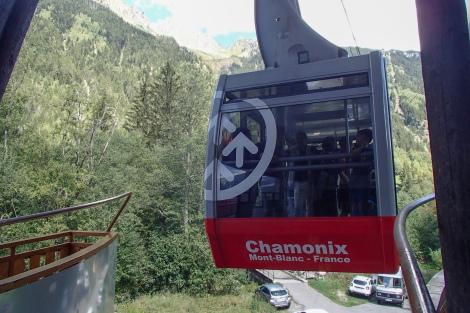 Taking the cable car from Les Praz to Refuge de la Flegere