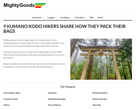 MightyGoods - Kumano Kodo packing list