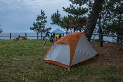 Camping in a park with a view of Kaimon-dake peak