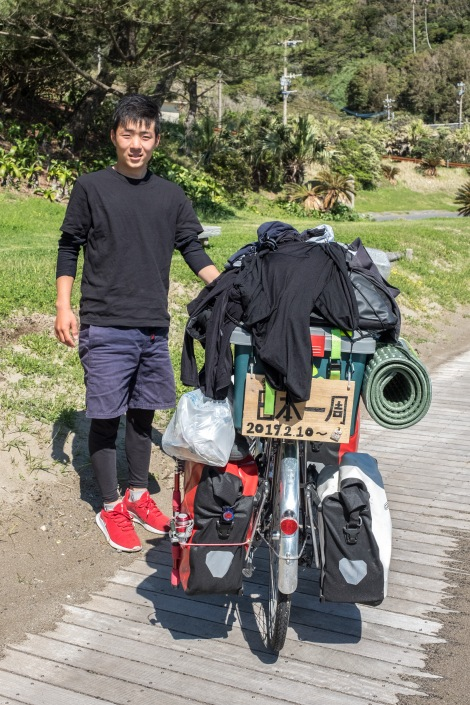This is Kakeru-san who's been travelling around Japan by bicycle since February 10th!