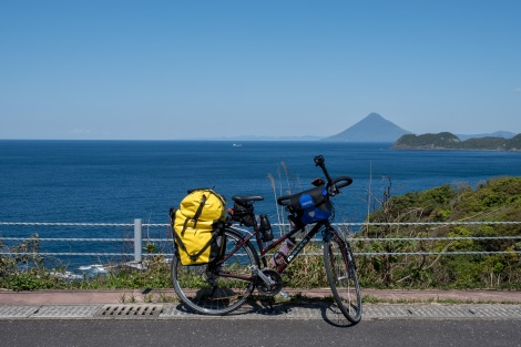 Kaimon-dake and momiji (the name of my bike)... I might've got a little carried away with pictures of this volcano!