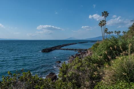 A distant view of Sakurajima volcano in Kagoshima