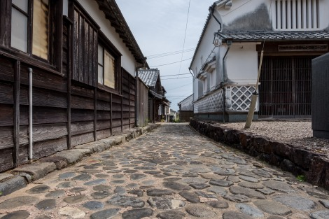 Ishitatami stone paving and traditional Edo and Meiji period houses of Mimitsu, Miyazaki
