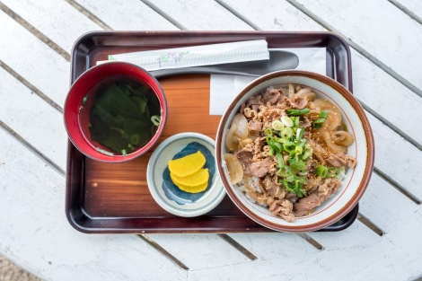 Lunch of gyudon (beef on rice) with a clear soup and radish at the Michi-no-eki Hyuga