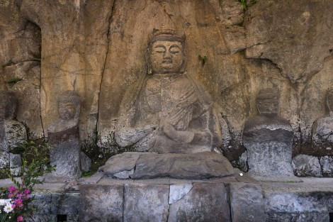 Sekibutsu Buddhist statues outside of Usuki