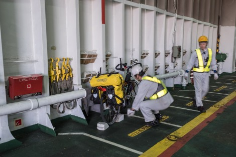 Fixing the bike onto the ferry from Usuki to Yawatahama (Kyushu to Shikoku)