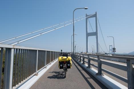 Momiji on the Kurushima-kaikyo bridge along the Shimanami Kaido cycle path
