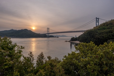 Sunrise and Innoshima suspended bridge (1,270m long)