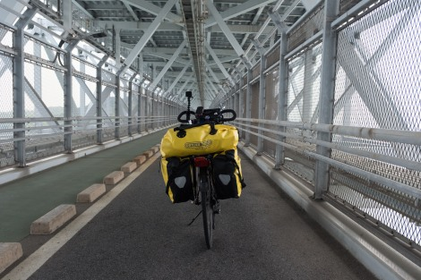 Crossing the last bridge I could cross by bike - Innoshima suspended bridge (1,270m long)