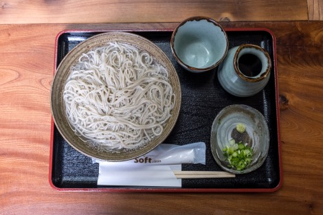 Hot soba noodles for lunch on a cold day at a wonderfully traditional mountain restaurant