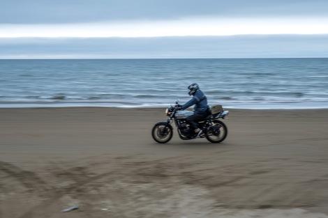 A motorbike on the Chirihama driveway