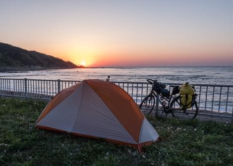 Sunset from Sodegahama campground in Wajima