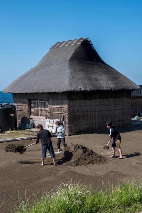 A family working on a salt farm, Noto Peninsula