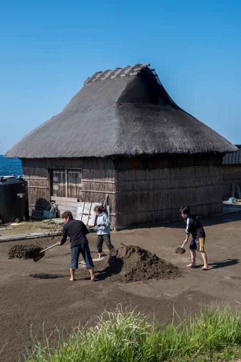 A family working on a salt farm, Noto Peninsula