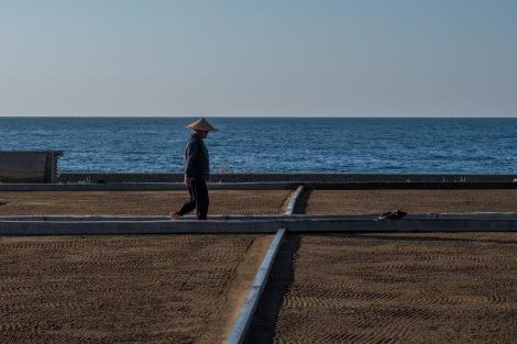 A farmer in his salt field