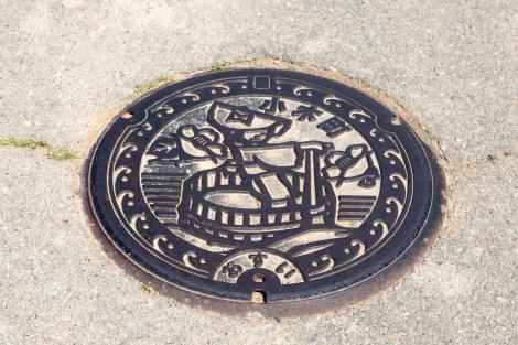 A Sado Island manhole cover
