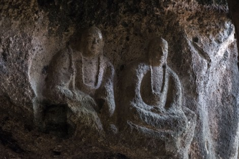 Buddhist statues inside Iwayasan Cave, one of these is supposedly carved by Kobo Daishi