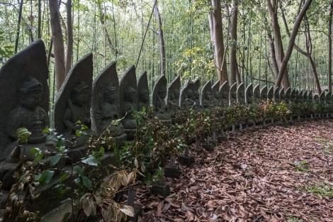 Buddhist statues outside Iwayasan Cave, Sado Island