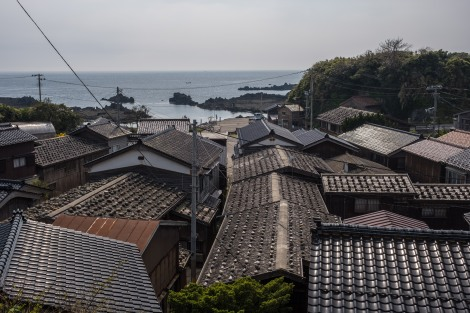 The roofs of a traditional fishing village called Shukunegi