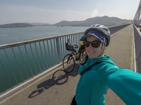 GoPro selfie on the Shimanami Kaido cycling path