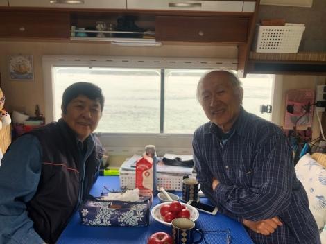 Miko and Kanji in their camper van on Innoshima Island