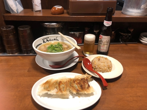 Ramen, gyoza, fried rice and an alcohol-free Asahi beer for dinner