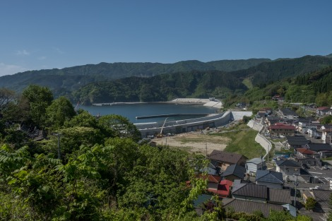 Building a seawall to protect this previously tsunami inundated town