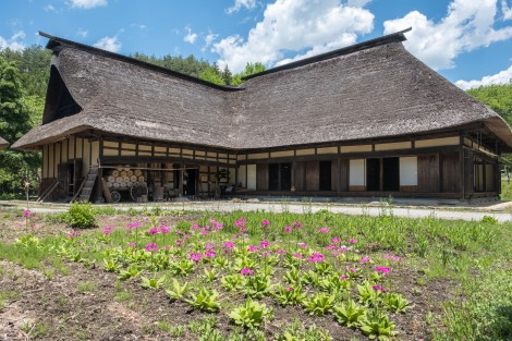 Old 'L-shaped' (magariya) thatched roof farmhouses in Tono Furusato Village