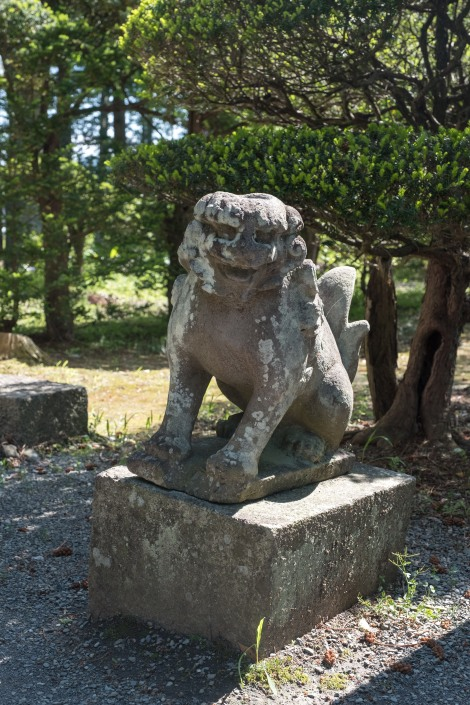 A Kappa 'komainu' guardian dog at Jokenji temple near the Kappabuchi pool, Tono