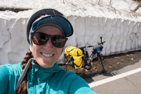There's still so much snow up here! And although I'm smiling, this is a hard climb!!